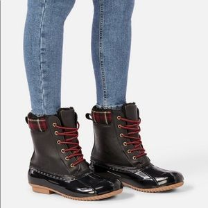 JusFab Faux Leather with Textile Duck Boots.